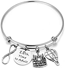 ENSIANTH Birthday Gift for Her Adjustable Birthday Bracelet Bangle with Birthday Cake Charm,10th 12th Sweet 16th 18th 21st 30th 39th 40th 50th Bangle Gift