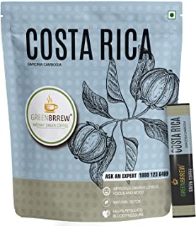 Greenbrrew Instant Green Coffee, Garcinia Cambogia (COSTA RICA) for Weight Management, 20 Sachets, 30g (Easy to Use)