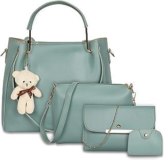 Envias Leatherette Latest Handbags For Women's Ladies Combo Of 4 (Sea Green_Teddy_EVS-126)