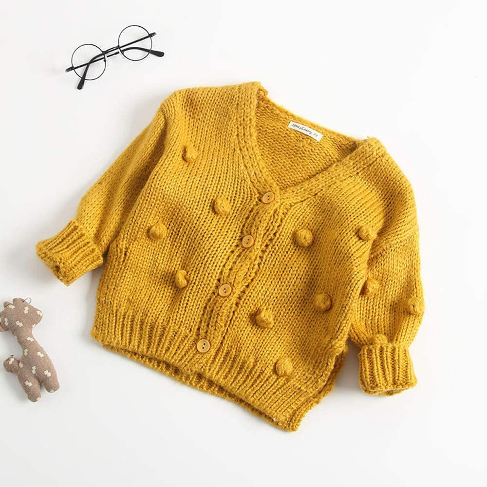 Newborn Baby Boys Girls Sweater Cardigan Toddler Pompom Button-Down Cotton Knitted Sweater Jacket Outercoat