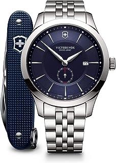 Victorinox Men's Swiss Quartz Watch with Stainless Steel Strap, Blue, 21 (Model: 241763.1)