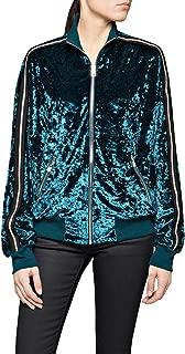 Replay Women's Velvet Zip Sweatshirt With Striped Sleeves