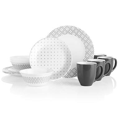 Corelle Boutique Farmstead Grey 16-Piece Dinnerware Set, Service for 4
