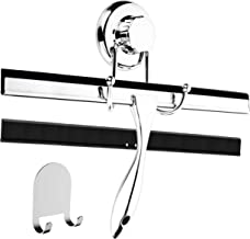 HASKO accessories 12-Inch Bathroom Shower Squeegee - Chrome Plated Stainless Steel - with Matching Suction Cup Hook Holder - 3M Adhesive Mounting Disc, 3M Hook,1 Replacement Rubber Blade
