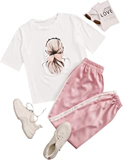 Milumia Women's 2PCS Outfit Print Round Neck Short Sleeve T-Shirts and Jogger Pants Set