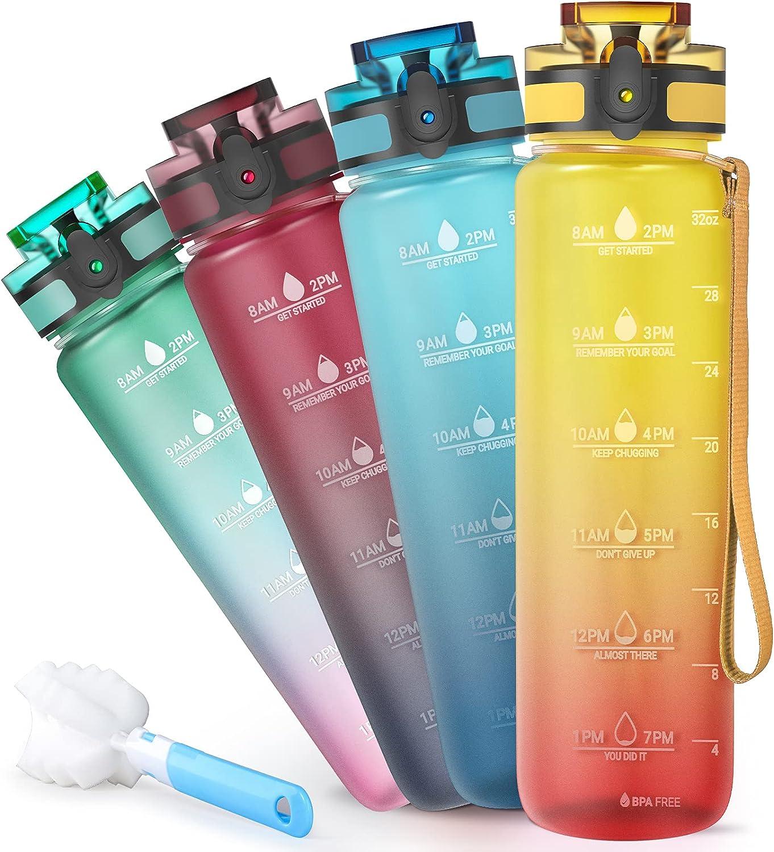 Sahara Sailor Botella de Agua Deportiva,1000ml Botella Agua con Marcador de Tiempo Motivadora, sin BPA, para Sport, Gimnasio, Trekking