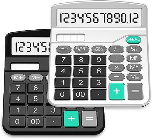 SPLAKS Lot de 2 calculatrices de bureau 12 chiffres - Fonction standard - Fonctionne à l'énergie solaire et AA - Avec...