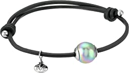 Majorica Adjustable Black Leather White Pearl Bracelet