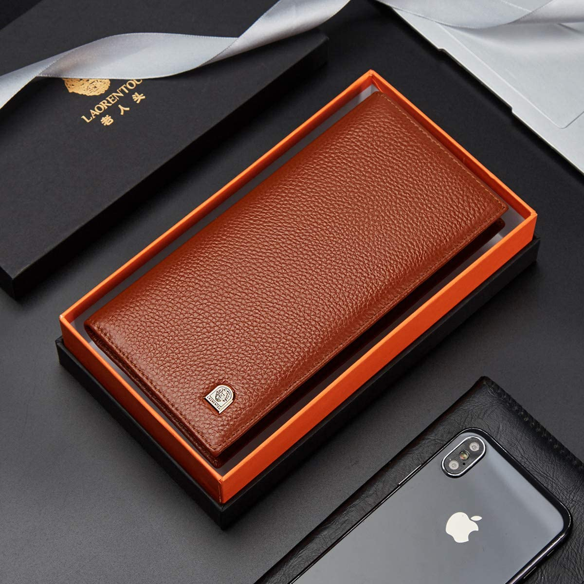 LAORENTOU Genuine Leather Bifold Wallets for Men Credit Card Holders Men's Slim Wallet with Zipper Coin Phone Pocket Gift Box Packing (Brown)