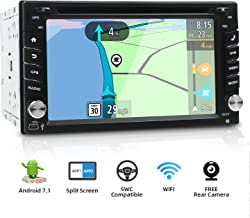 YUNTX Double Din Android Universal Car Stereo–6.2 inch Car GPS Navigation Entertainment Multimedia Radio,LCD Touchscreen Support DVD/WiFi/Bluetooth/SD Card/USB/Aux/FM/Mirrorlink (Include Rear Camera)