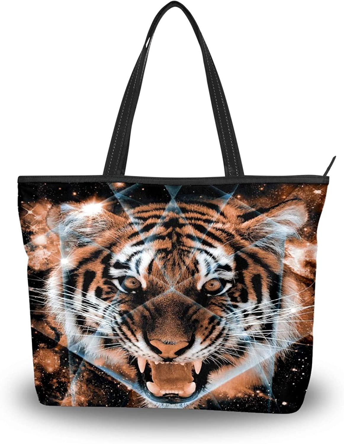 50 Cent Tiger Face Tote Bag Lightweight Detroit Mall Shoulde Excellence Women Polyester