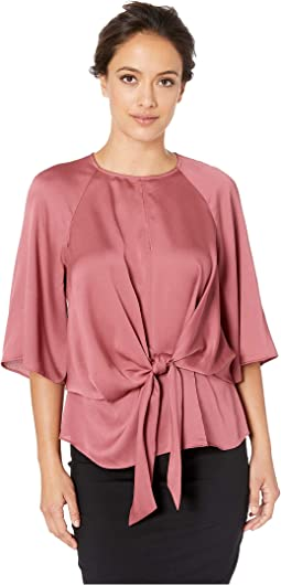 Petite Bell Sleeve Tie Front Keyhole Hammer Satin Blouse