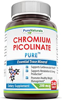 Pure Naturals Chromium Picolinate Supplement – 200 mcg - 240 Tabletsper Bottle- Supports Cardiovascular Health*, Supports ...