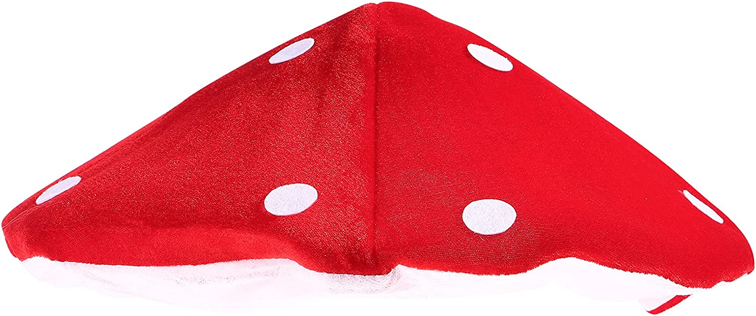 NUOBESTY Mushroom Hat Costume Accessory for Festival Decor, 1 Pieces (White and Red)