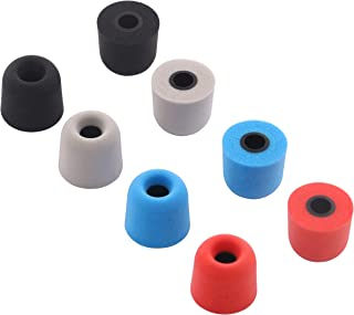 ALXCD Foam Ear Tips Replacement with 4.0mm Connect Hole, Medium Size 4 Pairs Soft Memory Foam Earbud Tips, Fit for Most in-Ear Headphones, Foam, Black Gray Red Blue