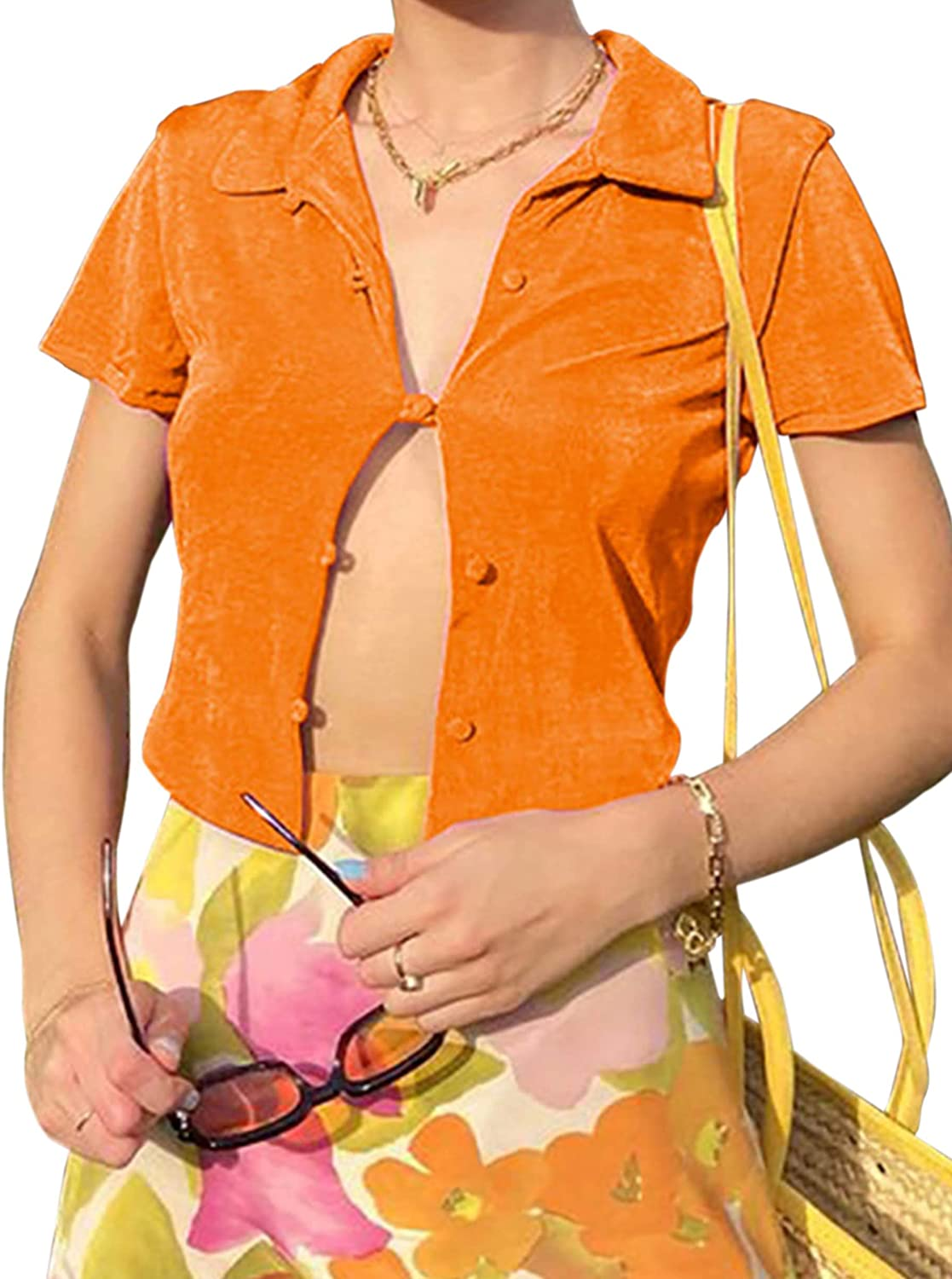 MISSATIVER Women's Y2k Turn Down Collar Buttons Casual Crop Top Button Down Short Sleeve Polo T-Shirt