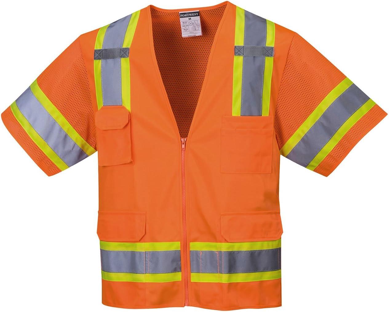 Portwest US373ORRXXL Regular Fit Aurora Sleeved Hi-Vis Vest, XX-Large, Orange