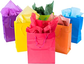 Super Z Outlet Neon Colored Blank Paper Party Gift Bags Rainbow Assortment with String Handles for Birthday Favors, Snacks, Decoration, Arts & Crafts, Event Supplies (12 Bags) (Small)