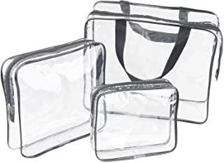 3 Pieces Large Clear Travel Bags for Toiletries, Waterproof Clear Plastic Cosmetic Makeup Bags, Transparent Packing Organi...
