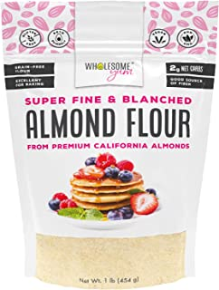 Wholesome Yum Premium Super Fine Blanched Almond Flour (16 oz / 1 lb) - Gluten Free, Non GMO, Keto Friendly Flour Substitu...