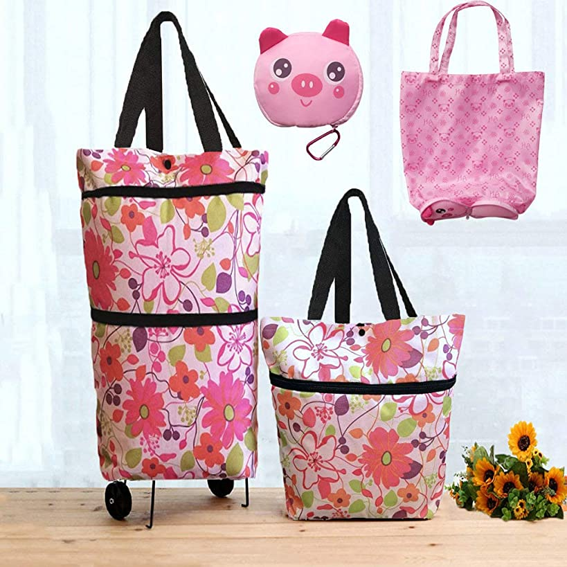 Collapsible Shopping Bag Foldable Shopping Bag with Wheels Shopping Cart Trolley Bag (Pink)