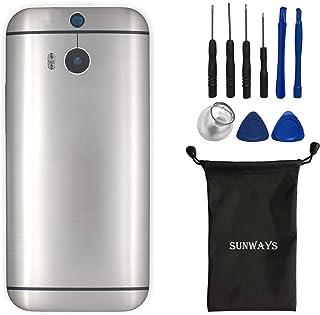 (المواد المعدنية) جراب بطارية sunways مع عدسة زجاجية خلفية + زر الصوت بديل متوافق مع HTC One M8 Dual sim(رمادي)