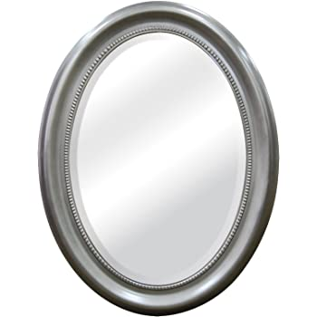 MCS Beaded Oval Wall Mirror, 22.5 x 29.5 Inch, Brushed Nickel