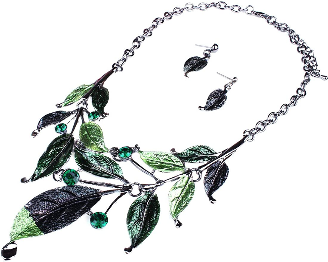 Moxeay Womens Vintage Crystal Rhinestone Leaves Bib Statement Collar Chain Necklace Earring Sets