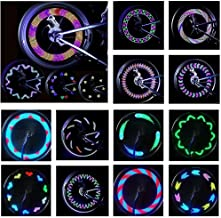DEBON 2 Packs Bike Wheel Lights Safety Warning Cool Bike Accessories for Kids Adults LED Waterproof Bicycle Spoke Lights with 32 LED and 32 Changes Patterns Rim Tire Lights for Bike Decoration