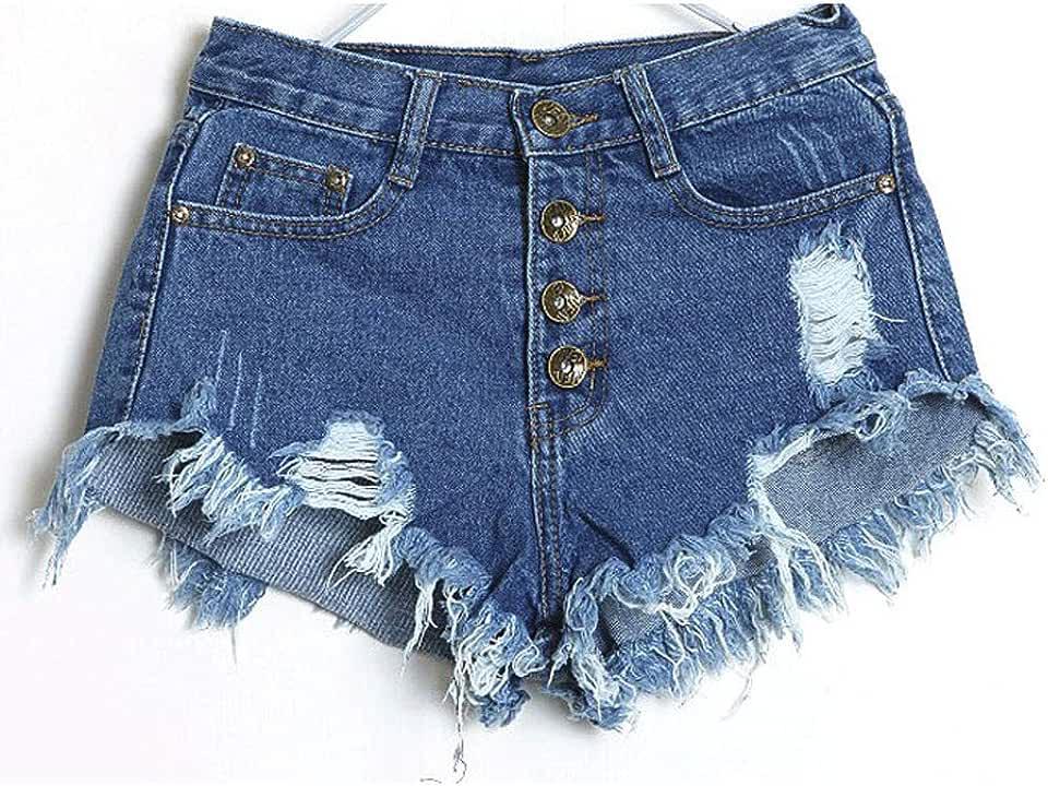 Bookear Denim Mini Short Ripped Hole Fringe Jeans Shorts Shorty Frayed Raw Hem Femme Plus Size
