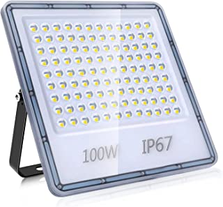 100W LED-Strålkastare, IP67 Otomhus Vattentät Spotlight Säkerhetsbelysning, 10000LM Superljus Ultratunn Arbetsbelysning Vä...