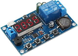 DROK Digital Programmable Time Clock Switch Timer Relay Board DC 5-60V Input Time Controller 24 Hours 4 Digit Timing Delay Module with Micro USB 5.0V Input Port