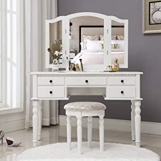 Unihome Tri Folding Mirror Vanity Table Set Dressing Table with Cushioned Stool and 5 Storage Drawer Wood Furniture