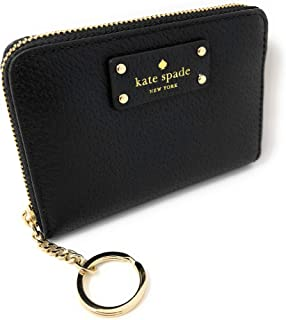 Kate Spade New York Kate Spade Grove Street Dani Leather Zip Around Wallet Key Chain Ring Black, Small