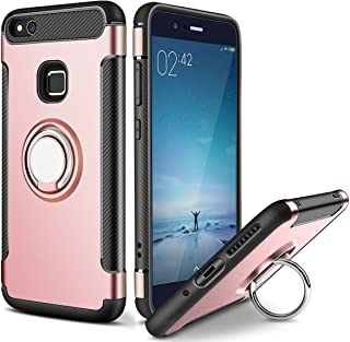 Ring Holder Case for Huawei P10 Lite (5.2 inch) Multifunction Hybrid Shockproof with Kickstand Protective Bumper Cover (Rose Gold)