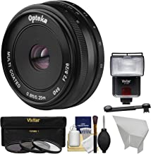 Opteka 28mm f/2.8 HD MF Prime Pancake Lens with 3 Filters + Flash + Diffusers + Kit for Sony Alpha E-Mount Digital Cameras