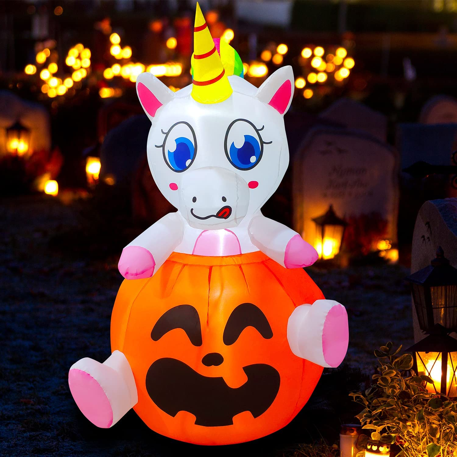 SEASONBLOW 5 Ft Halloween Inflatable Unicorn in Pumpkins Decoration Blow up Decor for Lawn Patio Indoor Outdoor Home Yard Party