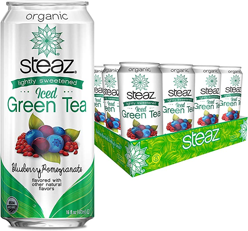 Steaz Lightly Sweetened Organic Iced Green Tea Blueberry Pomegranate 16 Ounce Can Pack Of 12