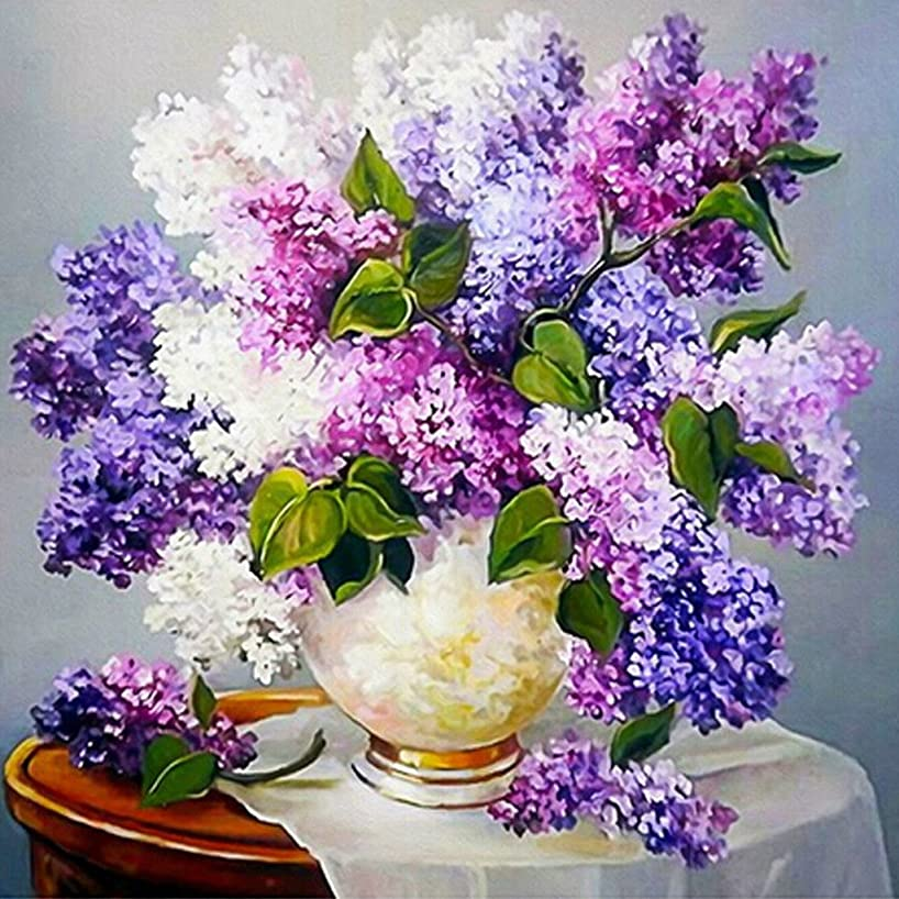 Ukerdo DIY Diamond Painting Purple Lilac Flowers Pictures by Number Kits Wall Art