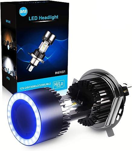 Ampoule H4 LED avec Yeux D'ange pour Moto, 6400LM, DC 12V, Xénon Blanc 6000K, 1 Ampoule