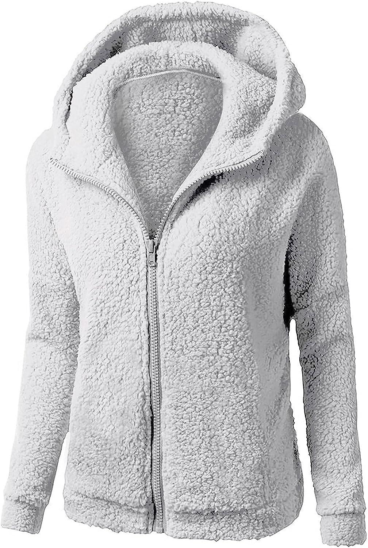 Womens Fuzzy Fleece Hooded Coat Oversized Faux Fur Zip Up Jacket Sherpa Fleece Sweatshirt Pullover Winter Warm