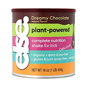 Else Nutrition Kids Organic Protein Shake Powder, Plant-Based, Less Sugar, Clean, Complete Childrens' Nutritional Drink Mix, Whey-free, Soy-free, Dairy-Free, 16 oz, Dreamy Chocolate
