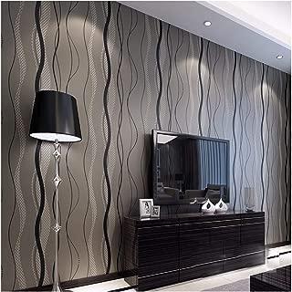 QIHANG High-Grade Non-Woven Flocking Simple Curve Style Wallpaper Roll Black&Gray Color
