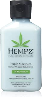 Hempz Natural Triple Moisture Herbal Whipped Body Creme with 100% Pure Hemp Seed Oil for 24-Hour Hydration - Moisturizing Vegan Skin Lotion with Yangu Oil, Peach and Grapefruit - Enriched Moisturizer