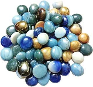 DS Milky Multi-Coloured Round Glass Pebbles/gravels/Stone/Beads for Aquarium, Table, vase, Fountain, Approx 65 Pieces