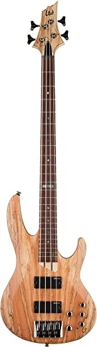 ESP LTD B-204SM Spalted Maple Bass Guitar, Natural Satin