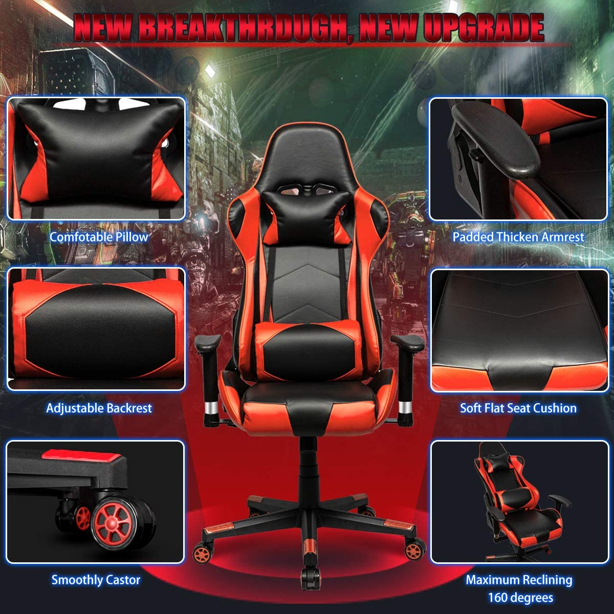 Gaming Chair Racing Office Computer Ergonomic Video Game Chair PU Leather Desk Chair Backrest and Seat Height Adjustable Swivel Recliner with Headrest and Lumbar Pillow E-Sports Chair Black