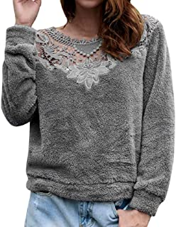 MISYAA Vintage Lace Patchwork Pure Color Tops Women Faux-Fur Long Sleeve Winter Shirts V-Neck Hollowed Pullover Sexy Tees