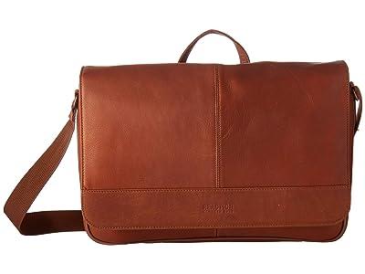 Kenneth Cole Reaction Colombian Leather 15 RFID Messenger Bag (Cognac) Handbags