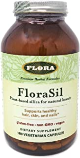 FloraSil for Hair, Skin, and Nails, 180 Capsules - Supports Vegan Collagen, Keratin, & Elastin Production - for Hair Growt...